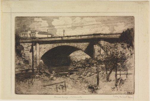 An image of Lennox Bridge, Parramatta by Sydney Ure Smith