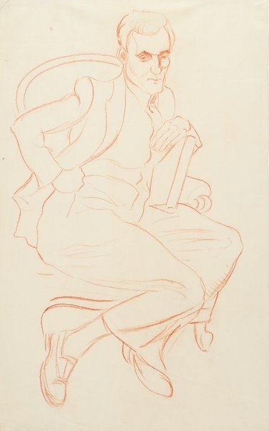 An image of (A man in a chair, with hand on hip) by Roy de Maistre