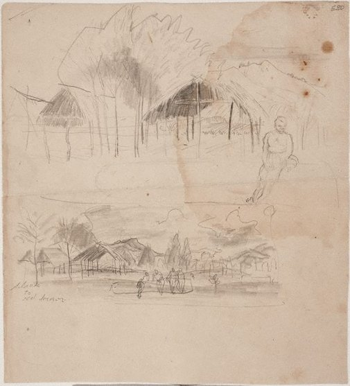 An image of Thatched huts, New Guinea by William Dobell