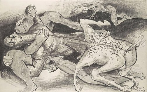 An image of Sketch for 'The battle of the Centaurs and Lapiths' by James Gleeson