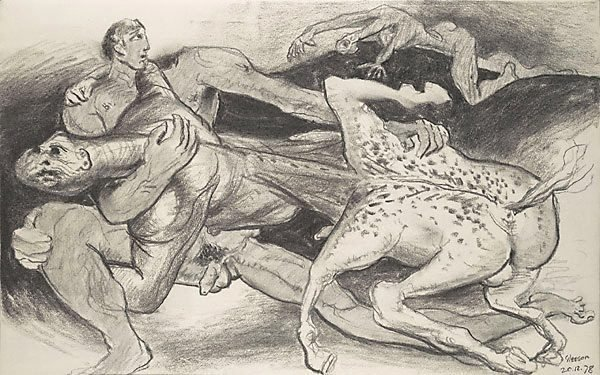 An image of Sketch for 'The battle of the Centaurs and Lapiths'
