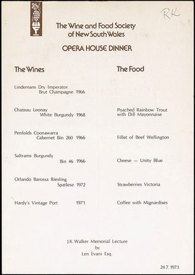 Alternate image of (Drawing for Wine and Food Society 'A night at the opera' menu) by John Olsen