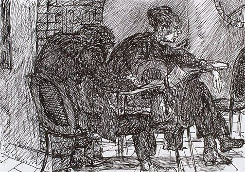 An image of Two figures at a table, Bill and Toni's, Stanley Street, East Sydney by Kevin Connor