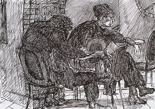An image of Two figures at a table, Bill and Toni's, Stanley Street, East Sydney