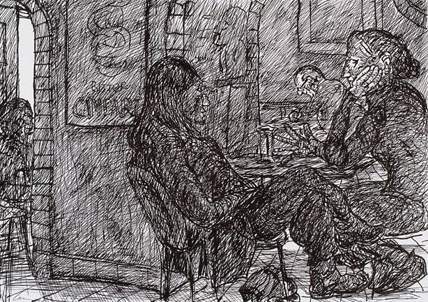 An image of Seated figures, Bill and Toni's, Stanley Street, Sydney