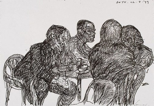 An image of Four at a table, Bill and Toni's, Stanley Street, Sydney by Kevin Connor
