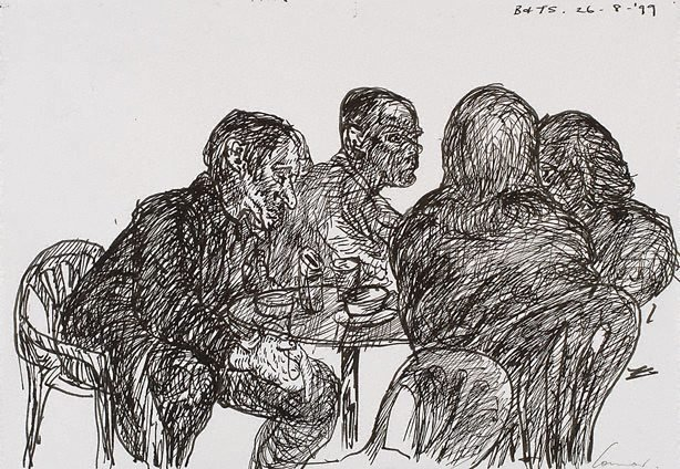 An image of Four at a table, Bill and Toni's, Stanley Street, Sydney