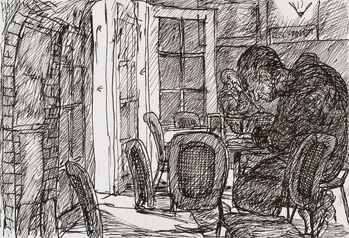 An image of Reading, morning, Bill and Toni's, Stanley Street, East Sydney by Kevin Connor