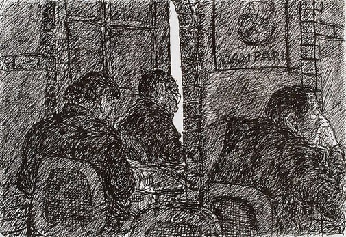 An image of Three figures and Campari ad, Bill and Toni's, Stanley Street, East Sydney by Kevin Connor