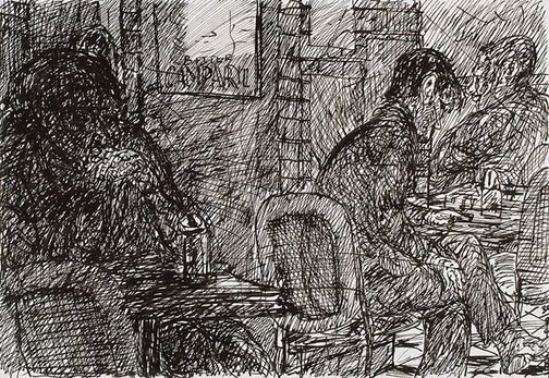An image of Dark figure, Bill and Toni's, Stanley Street, East Sydney by Kevin Connor