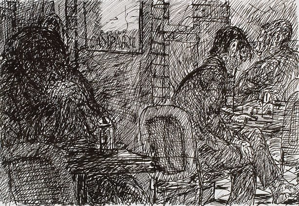 An image of Dark figure, Bill and Toni's, Stanley Street, East Sydney