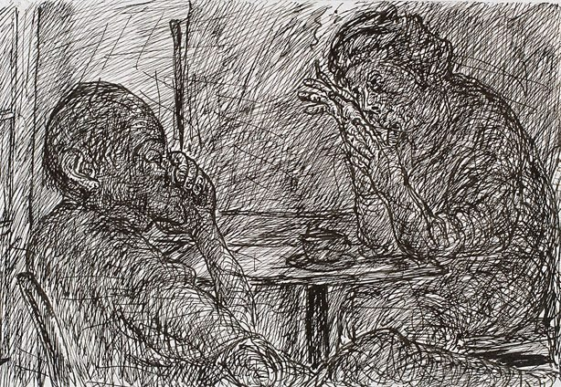 An image of (Two figures, one smoking, Bill and Toni's, Stanley Street, East Sydney)