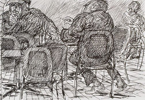 An image of (Three figures, Bill and Toni's Stanley Street, East Sydney) by Kevin Connor
