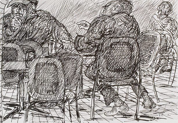 An image of (Three figures, Bill and Toni's Stanley Street, East Sydney)
