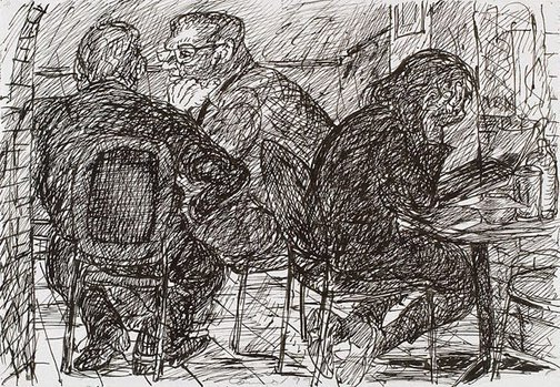 An image of (Three figures, one reading, Bill and Toni's, Stanley Street, East Sydney) by Kevin Connor