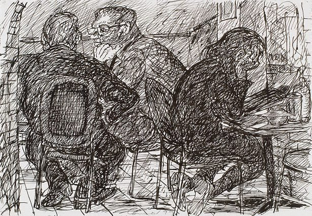 An image of (Three figures, one reading, Bill and Toni's, Stanley Street, East Sydney)