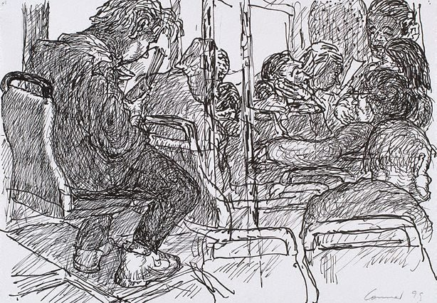 An image of (On the bus)