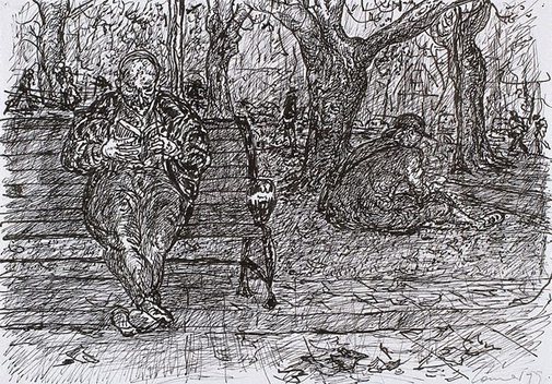 An image of (Reader on a park bench) by Kevin Connor