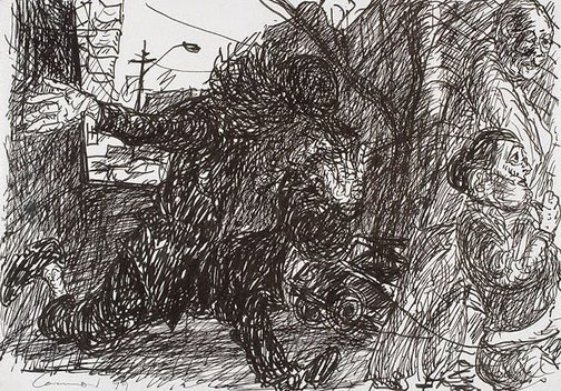 An image of (Figure running amok in the street) by Kevin Connor
