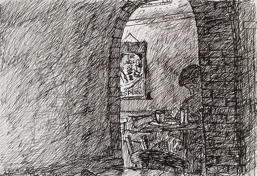 An image of (Lone figure in archway, Bill and Toni's Stanley Street, East Sydney) by Kevin Connor