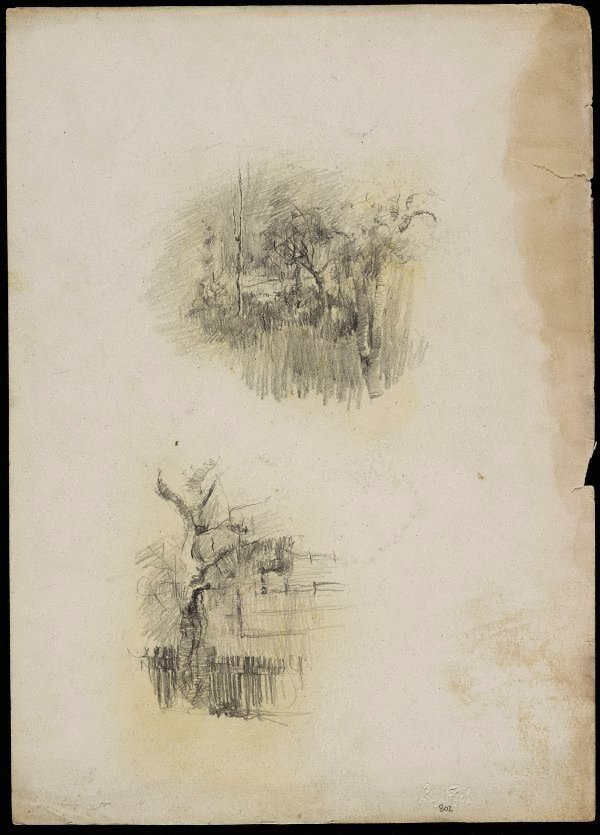 An image of recto: Garden sketch [top] and Tree with paling fence [bottom] verso: Dressing table [upside down]