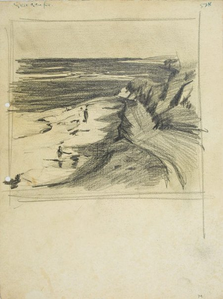 An image of Seascape with figures on the beach by Lloyd Rees