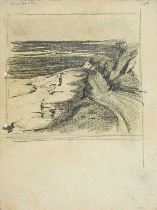 An image of Seascape with figures on the beach