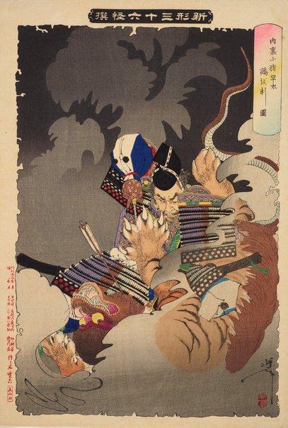 An image of Ii no Hayata killing a nue at the Imperial Palace by Tsukioka Yoshitoshi