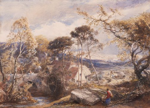 An image of Landscape with watermill by Samuel Palmer