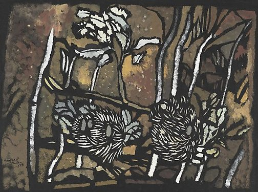 An image of Banksia with trees by Margaret Preston