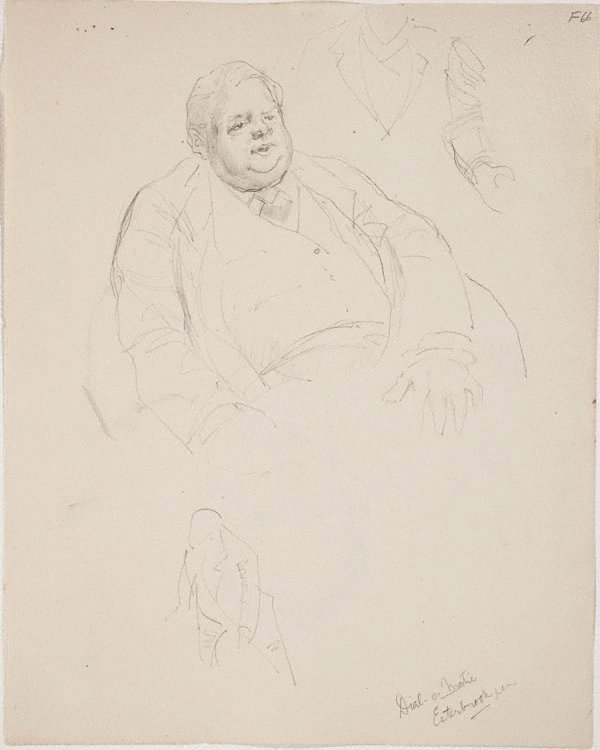 An image of (Portrait study of a fat man) (Late Sydney Period)