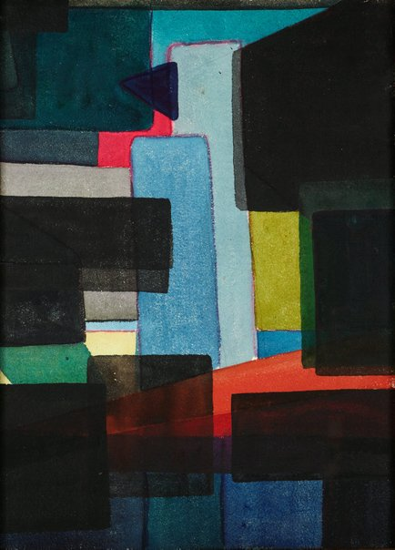 An image of Composition in red and blue by Margo Lewers