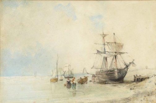 An image of On the Beach by attrib. Richard Parkes Bonington