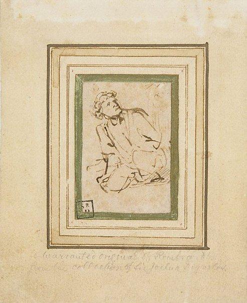 An image of Kneeling man by Rembrandt Harmensz. van Rijn
