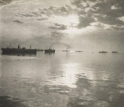 An image of First troopships leaving Albany, Western Australia by William Fell