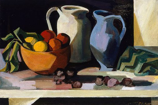 An image of Still life with wooden bowl by Jean Bellette