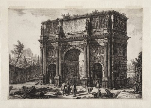 An image of The Arch of Constantine by Giovanni Battista Piranesi