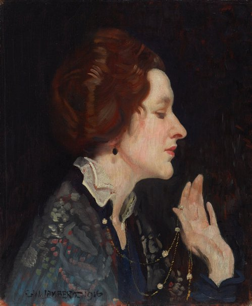 An image of Portrait of a lady (Thea Proctor) by George W Lambert