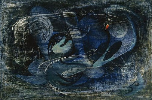 An image of Composition in blue by Margo Lewers