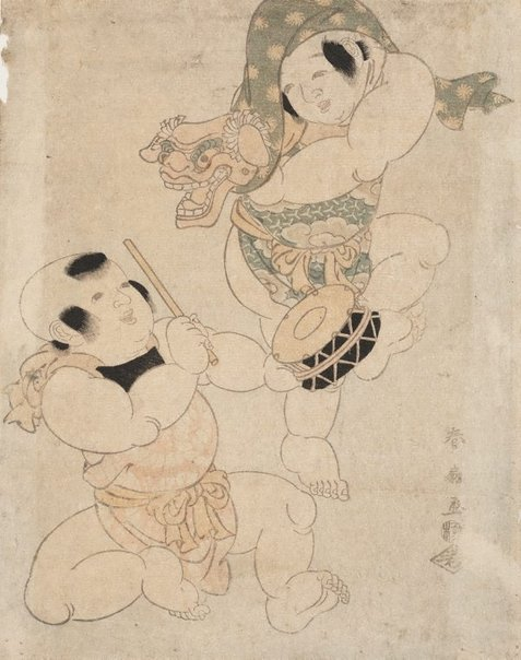 An image of (Two children playing) by Katsukawa SHUNKÔ II