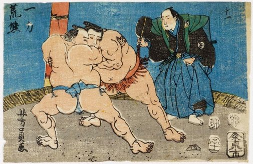 An image of Wrestlers - Ichiriki and Arakuma by Utagawa YOSHIKAZU
