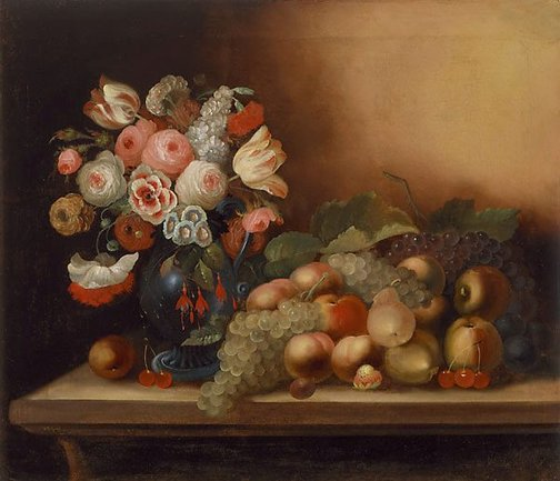 An image of Flowers and fruit by William Buelow Gould