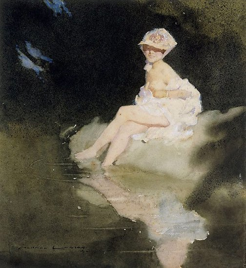 An image of The paddler by Norman Lindsay