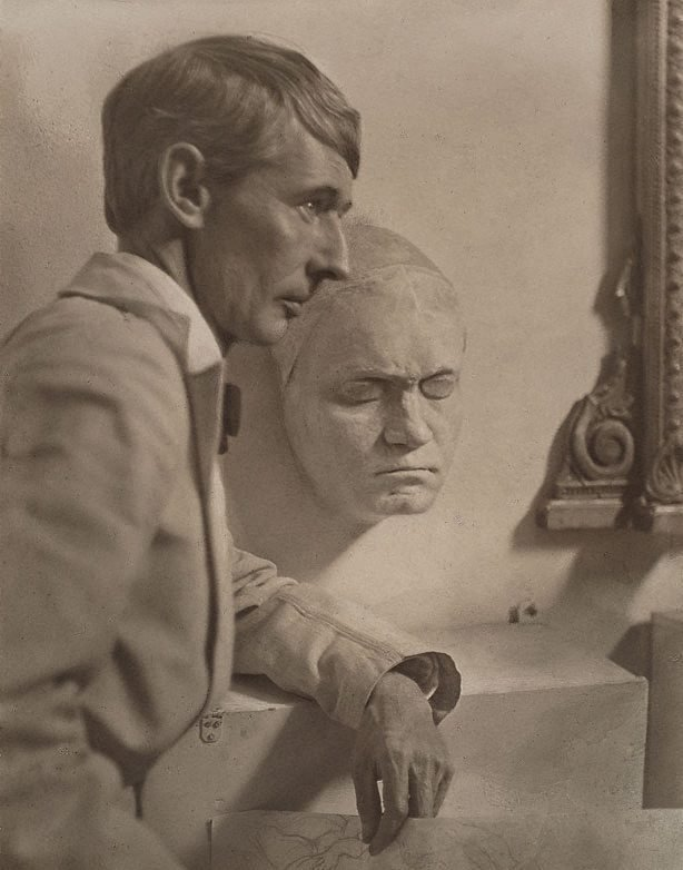 An image of Norman Lindsay with Beethoven's death mask