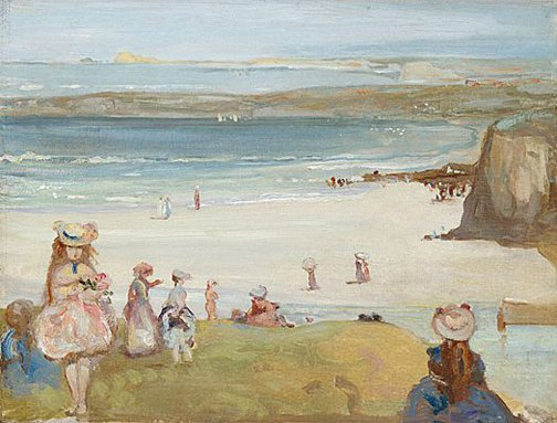 An image of The sands, Newquay by Charles Conder