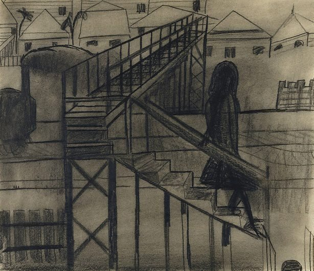 An image of (Girl descending stairs from railway bridge)