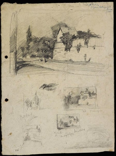 An image of recto: Edgecliff Road, Woollahra [top] and 4 Edgecliff Road compositions [bottom] verso: Houses on hillside [top] and  Hillside with sand [bottom] by Lloyd Rees
