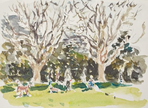 An image of Dog owners, plane trees, Rushcutters Bay by Tom Carment