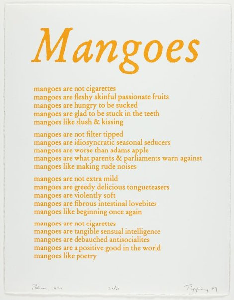 An image of Mangoes - poem, 1972 by Richard Tipping