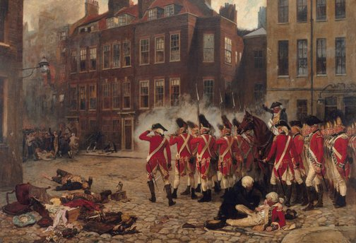 An image of The Gordon riots 1780 by John Seymour Lucas
